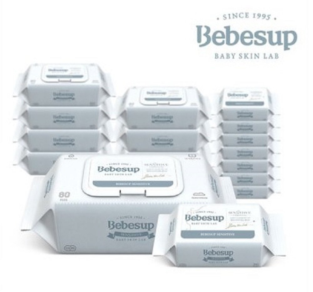 Bebesup Best of Best Baby Safety Water Wipes C06 Sensitive Embossing Flip Top 8 Pack + Portable Refill 8 Pack, Total 800 Count (8 x 80, 8 x 20), From 0 Months of Age