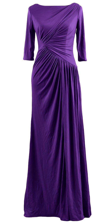 MACloth Women Half Sleeve Boat Neck Jersey Long Evening Gown Celebrity Dress
