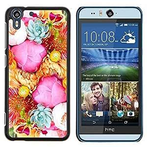 Stuss Case / Funda Carcasa protectora - Rosadas amarillas Ramo Rosas Flores - HTC Desire Eye ( M910x )
