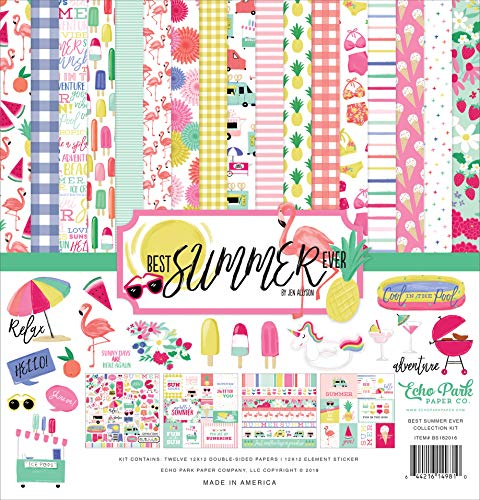 Echo Park Paper Company BS182016 Best Summer Ever Collection Kit Paper Pink, Teal, Yellow, Green, Purple