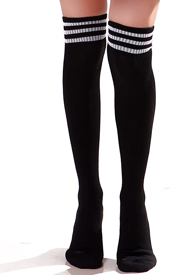 White+Black Strip High Knee Sock KANEED High Knee Socks Stripes Cotton Sports School Skate Long Socks for Kids