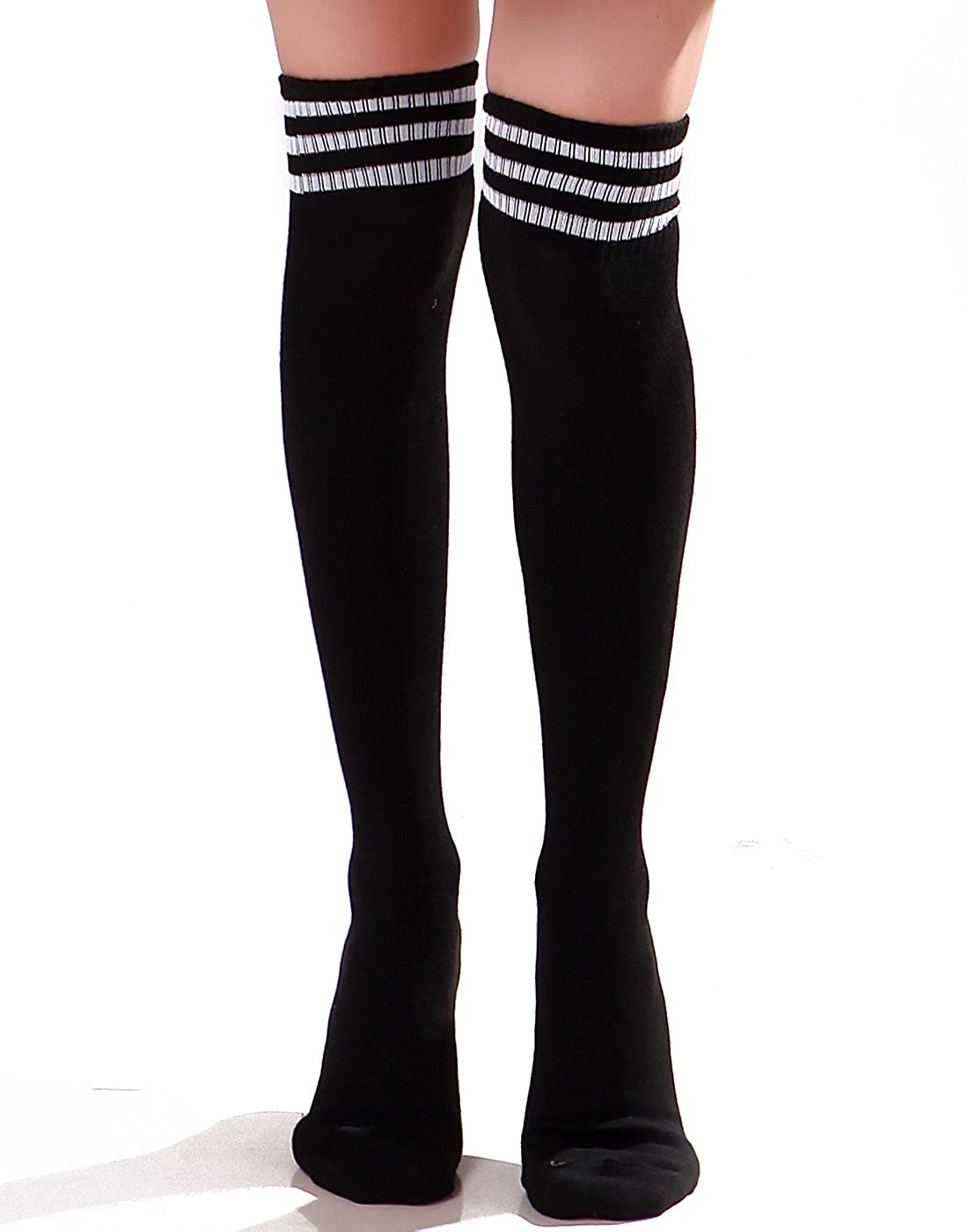 b86d8a44ae7 HDE Women Three Stripe Over Knee High Socks Extra Long Athletic Sport Tube  Socks (Black White) at Amazon Women s Clothing store