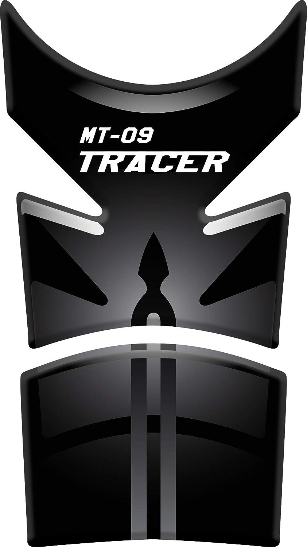 RESINATO EFFETTO 3D compatibile con Yamaha MT-09 Tracer Nero//Rosso PARASERBATOIO ADESIVO