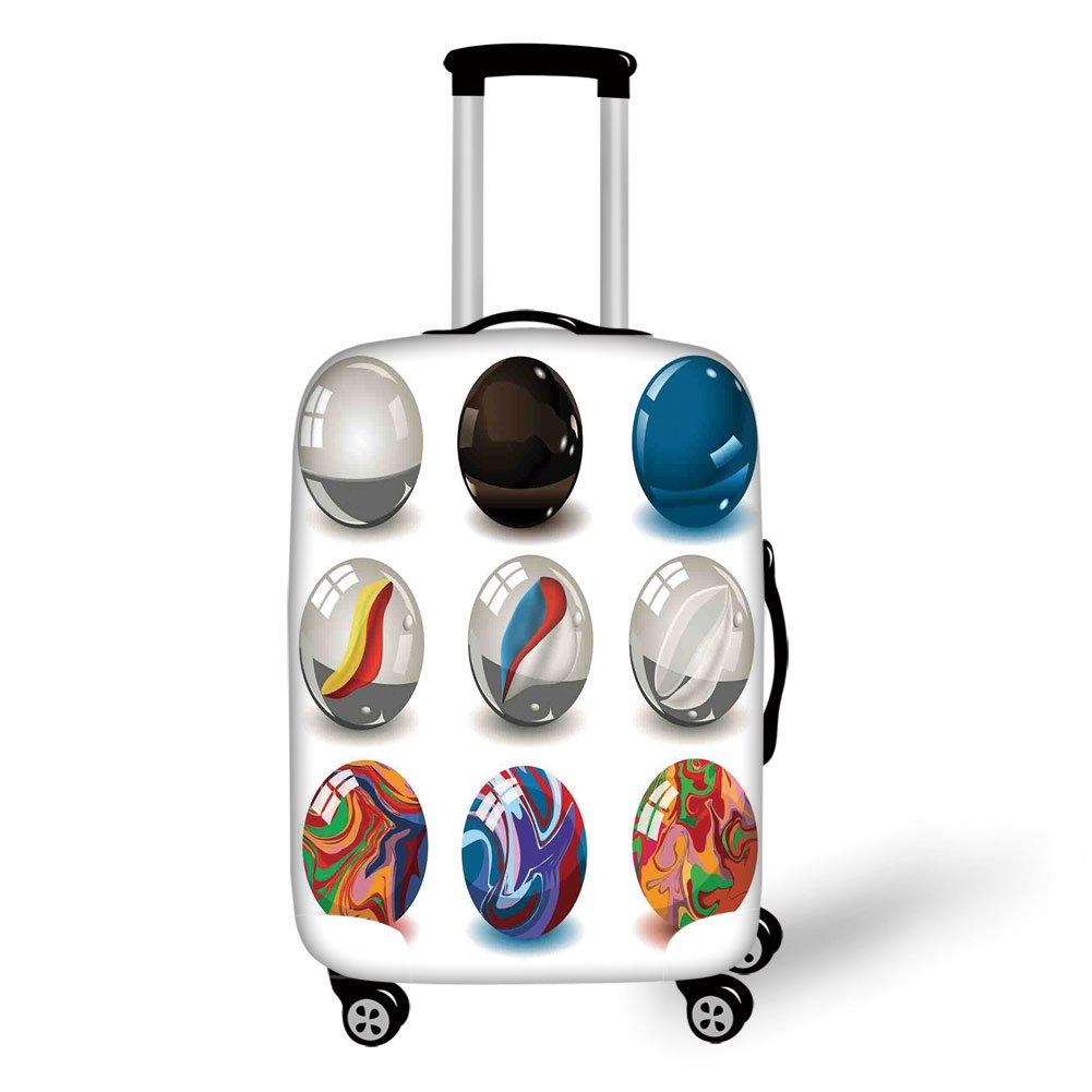 Travel Luggage Cover Suitcase Protector,Pearls,Collection of Different Marbles with Glass and Porcelain Materials Like Bubbles Artwork,Multi,for Travel