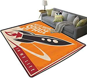 Vintage Decor Polyester Rubber Door Mats Space and Real Life with Rocket Taking Flight Planet Cosmos Past Time Slogan Theme Kids Floor mats Multi, 5'x 7'(150x210cm)