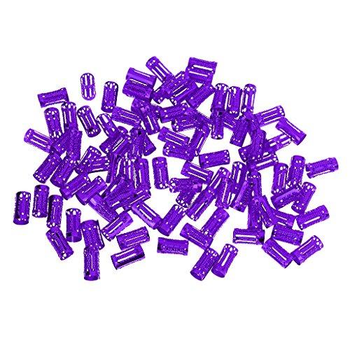 CUTICATE 100pcs Dreadlock Beads Hair Rings Adjustable Hair Braid Cuffs Clip - Purple, as described
