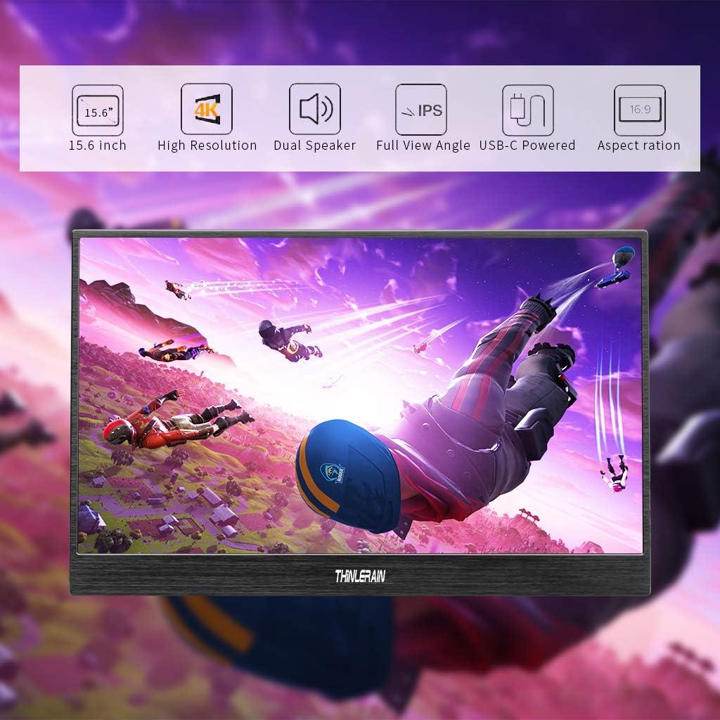 Thinlerain 4K Moniteur Portable 15,6 Pouces USB C Ecran Gaming Full HD 3840 2160 Ultra-Mince Monitor Double Haut-Parleur Int/égr/é pour Raspberry PS4 Pi Xbox Xbox360 PC Laptop