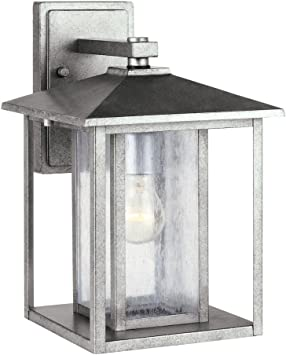 Sea Gull Lighting 88027 57 Hunnington Contemporary One Light Outdoor Wall Lantern Outside Fixture Large Weathered Pewter Finish Wall Porch Lights