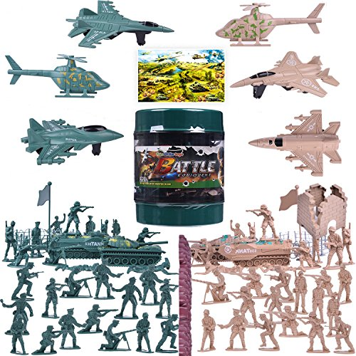 Army Men Action Figures Army Toys of WW 2 Military Playset with a Map, Toy Tanks, Planes, Flags, Soldier Figures, Fences & Accessories 232 PCs from FUN LITTLE TOYS