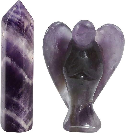 2/'/' Amethyst Natural Quartz Angel Crystal Hand Carved Reiki Healing Guardian