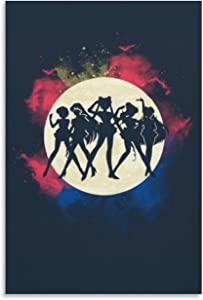 Sailor Moon Poster Painting Prints Modern 08×12inch(20×30cm) Wooden Framed Video Game Poster Sailor Moon Merchandise Dorm Wall Decor for Boy & Girls Room Decor, Stretched and Ready to Hang