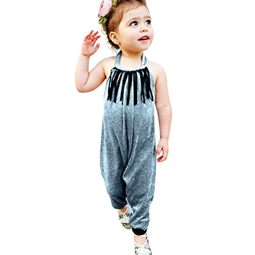 3ab4398e10e6 Minisoya Summer Children Toddler Kids Baby Girls Bandage Velvet Jumpsuit  Tassel Backless Overalls Romper Playsuit (