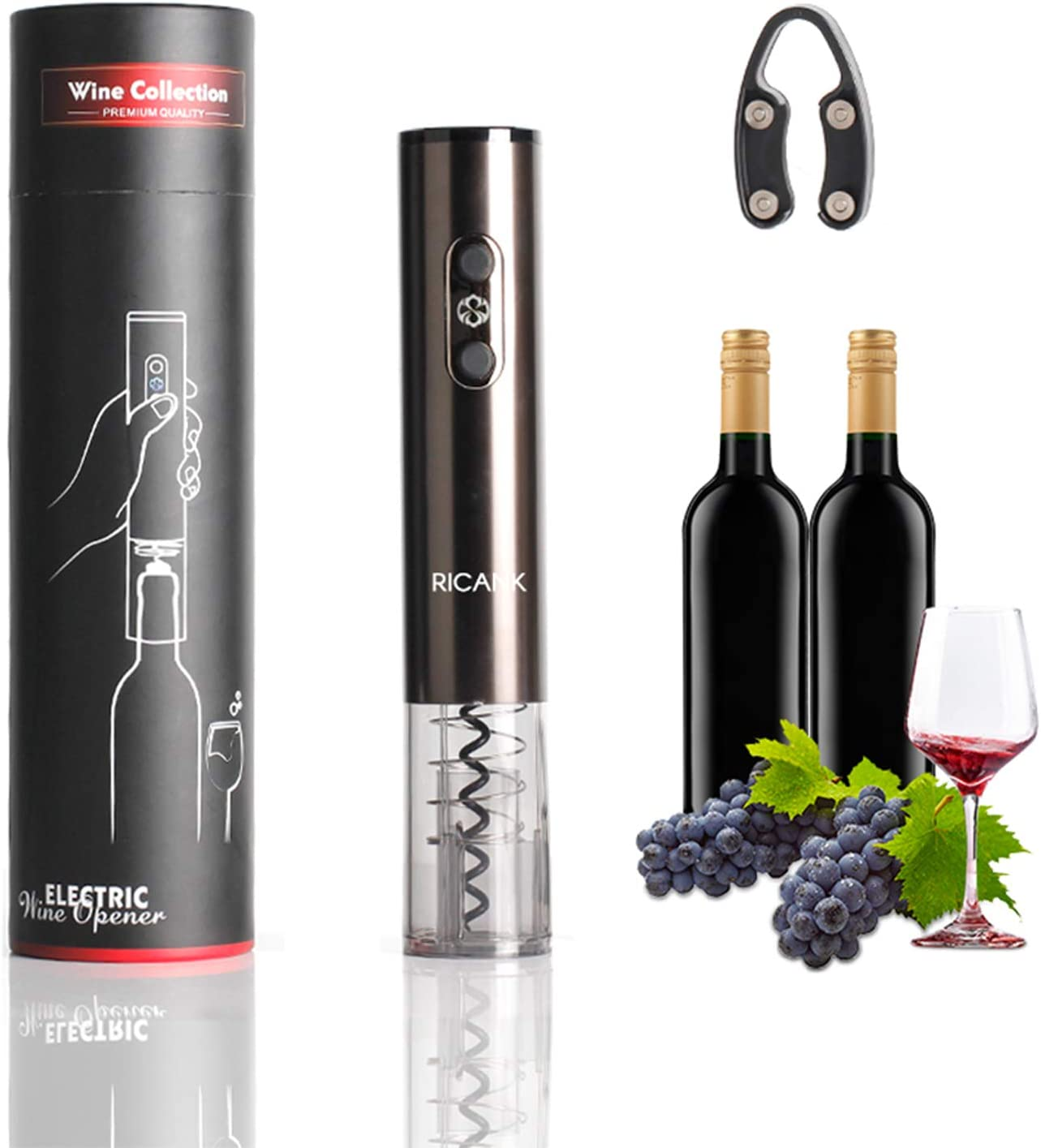 RICANK Electric Wine Opener, Automatic Electric Wine Bottle Corkscrew Opener with Wine Foil Cutter and USB Charging Cable, Rechargeable Cordless Automatic Corkscrew Set One Touch Wine Bottle Opener