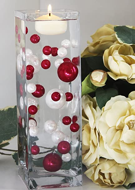 Amazon 68 red and white pearl beads including the clear 68 red and white pearl beads including the clear jellybeadz great for wedding centerpieces junglespirit Image collections