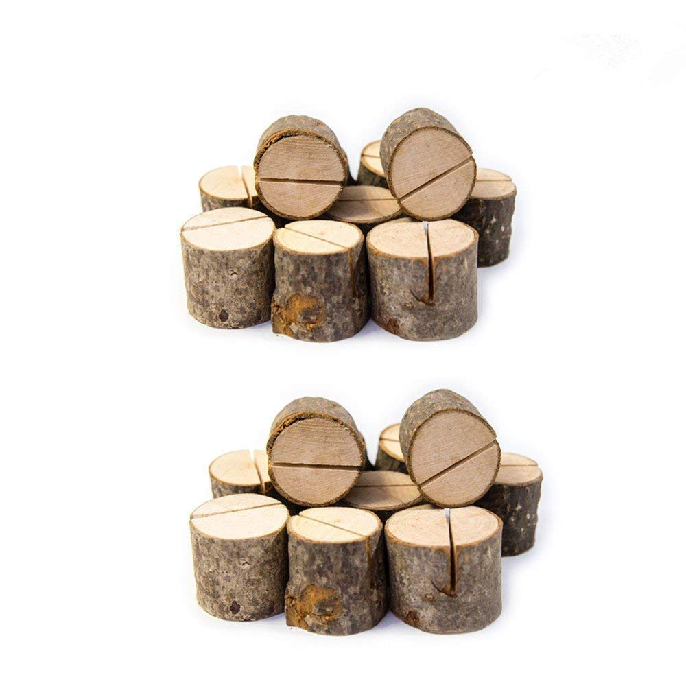 Rustic Wood Table Numbers Holder Wood Place Card Holder Party Wedding Table Name Card Holder Memo Note Card (20pcs)