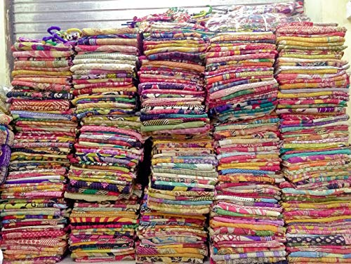 10 Pieces Mix Lot of Indian Tribal Kantha Quilts Vintage Cotton Bed Cover Throw Old Sari Made Assorted Patches Made Rally Whole Sale Blanket (Quilts Sale For Colorful)