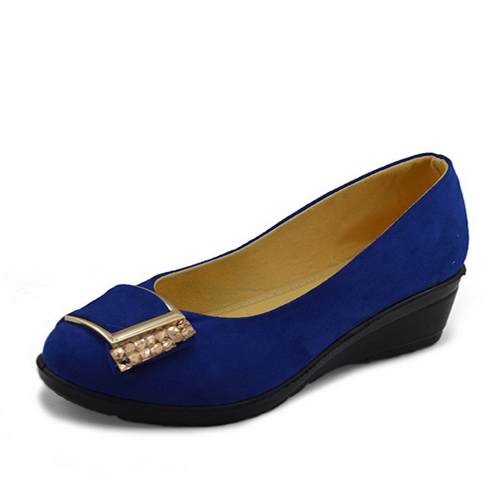 VogueZone009 Womens Closed Square Toe Low Heel Wedges Fabric Solid Pumps with Glass Diamond and Metal, Blue, 8 B(M) US