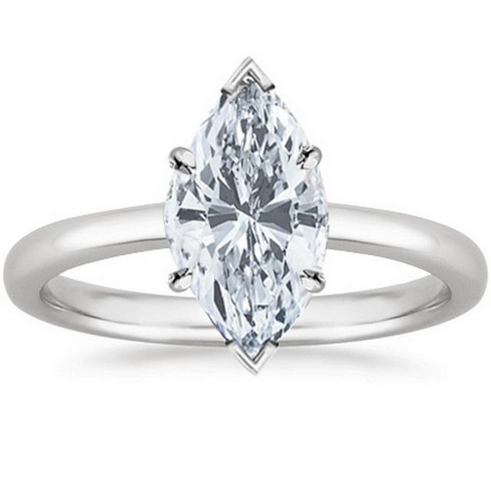 Platinum Marquise Cut Solitaire Diamond Engagement Ring (1 Carat G-H Color VS2 Clarity)
