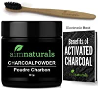 aimnaturals Best Canadian Natural Teeth Whitening Activated Charcoal Powder In Bulk (50g) + Charcoal Toothbrush + Benefits of Activated Charcoal Electronic Book Value Pack (6 Months Supply)| 100% Pure Food Grade, No Artificial Flavors or Hardwood Used