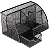 Mesh Office Supplies Desk Organizer Caddy, 6 Compartments + Drawer | The Mesh Collection, Black