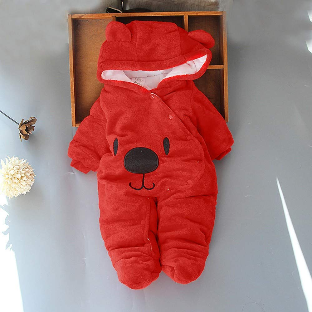 Amazon.com : Winter Unisex Baby Warm Romper, Solid Cute Bear Print ...