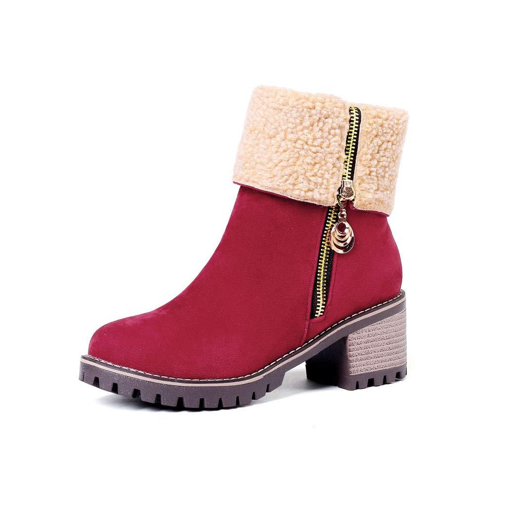 Stivaletti Donna Nero Pelo Ecopelle Caldi Stivali Invernale Tronchetto Sneakers