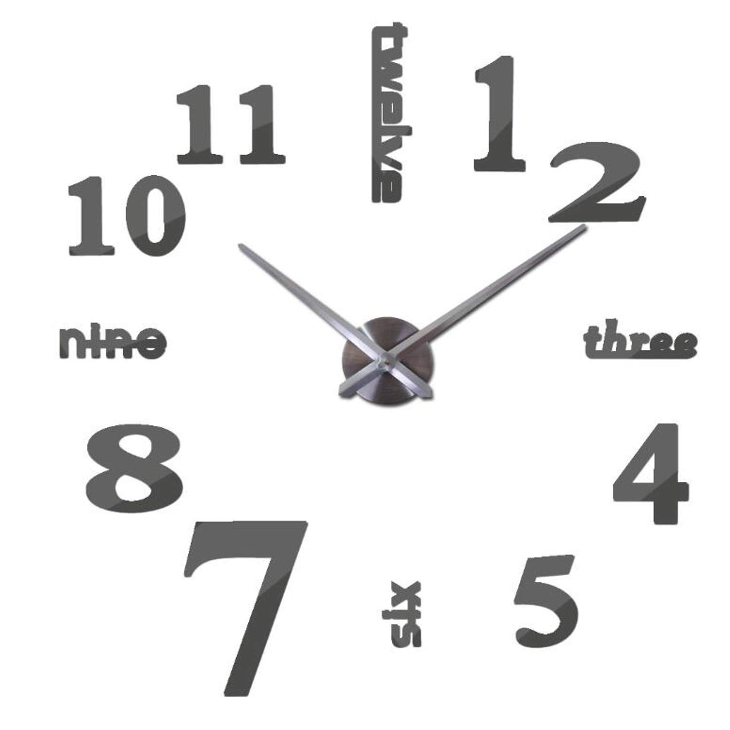 Amazon.com: Batop Quartz Clocks - Fashion Watches 3D Real Big Wall - Clock Rushed Mirror Sticker - DIY Living Room Decor (Dark Gray) (37inch): Home & ...