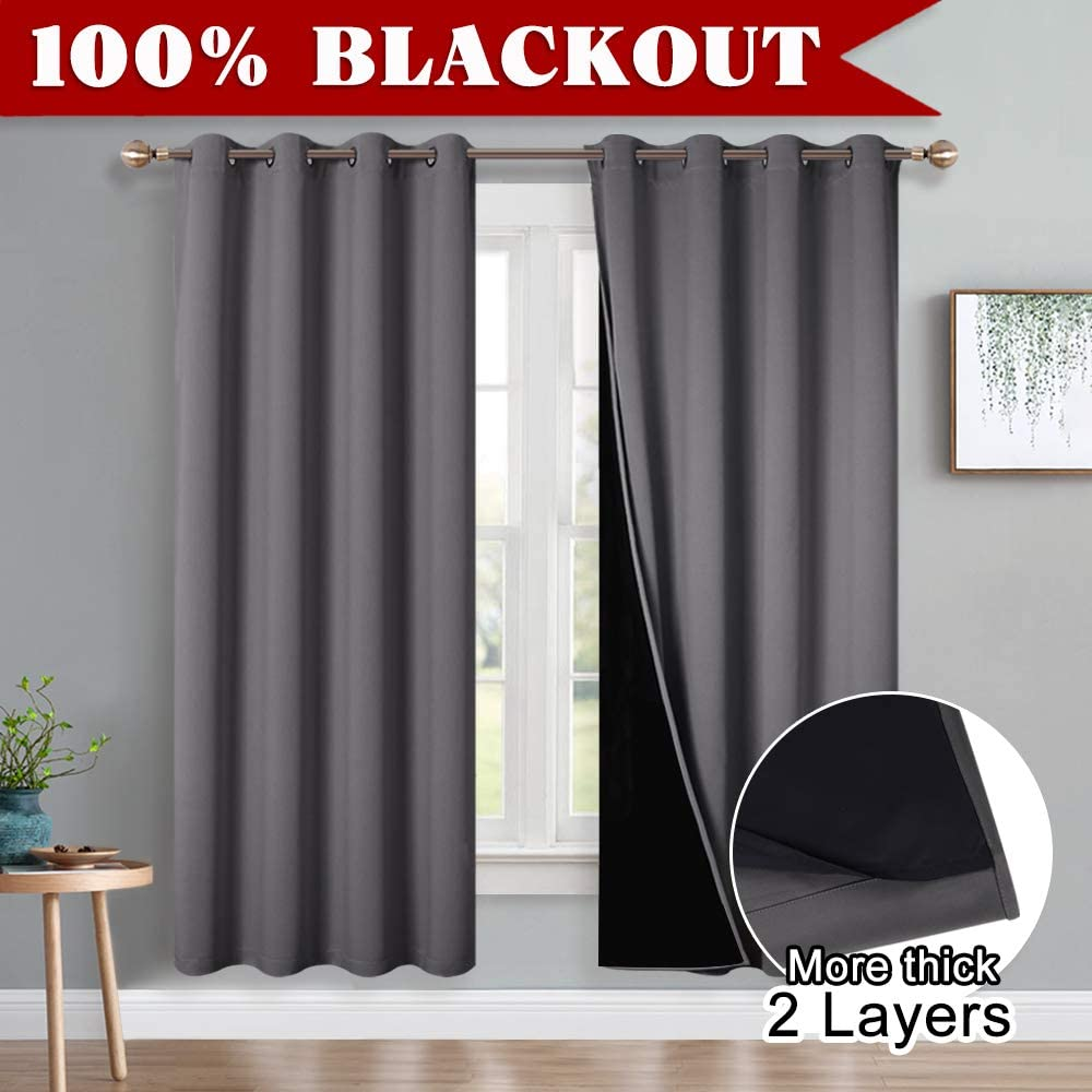 2 PCs Mocha Complete Blackout Curtain Drapes Small for Kitchen//Bedroom//Basement Rings Up Window Dressing with Black Liner 52 x 54 PONY DANCE Heavy Eyelet Curtains