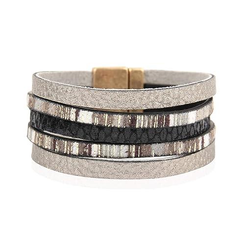 c518eef03d745 RIAH FASHION Bohemian Faux Suede Leather Wrap Multi Layer Bracelet - Boho  Wrist Adjustable Cuff Bangle Crystal Rhinestone/Metallic Bead/Natural ...