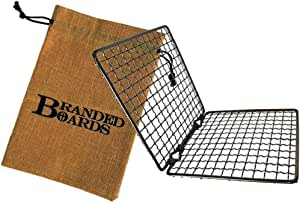 Branded Boards Bushcraft Stainless BBQ Grill Grate, Eco-Friendly Bamboo Cutting Board, Burlap Hemp Drawstring Bag, Mini Camp Knife. Camping, Backpacking, Hunting & Fishing. (Folding Grill)