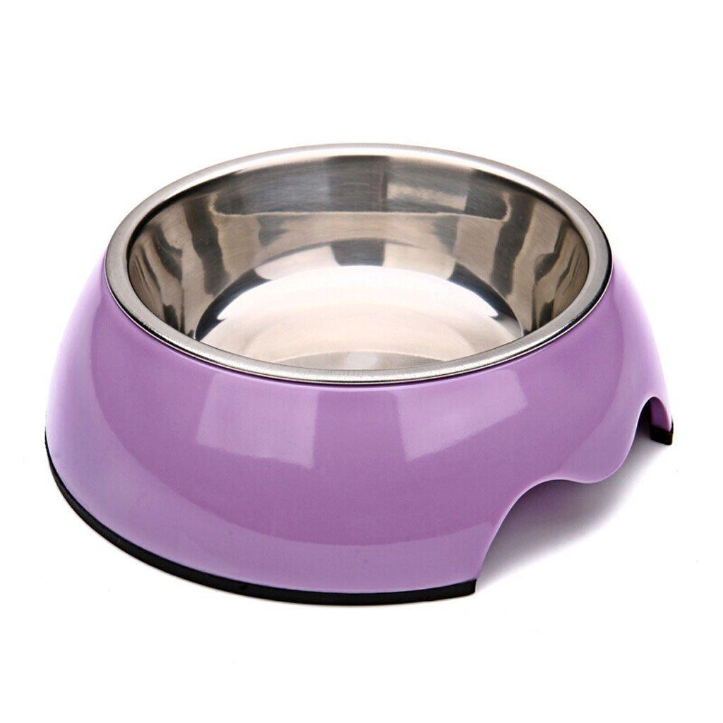 Purple L Purple L Pet Stainless Steel Dog Bowl Dog Bowl Dog Food Bowl Cat Bowl Cat Food Bowl White L-Large (color   Purple, Size   L)