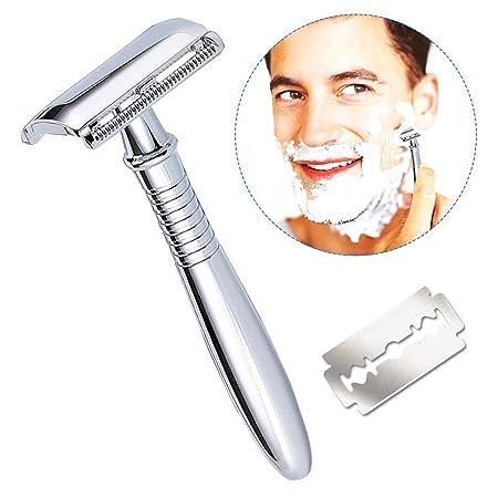 Maquinilla de afeitar con 5 hojas,Breett Maquinilla para hombre Maquinilla de afeitar para hombre mango largo con doble filo kit de afeitado para hombres ...