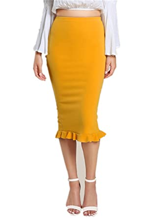 2a813c56fb5c6b George GougeRuffle OL Pencil Skirt Women Yellow Sexy Slim Elegant Work  Summer Skirts New Fashion New Brief High Waist Skirt at Amazon Women's  Clothing store ...