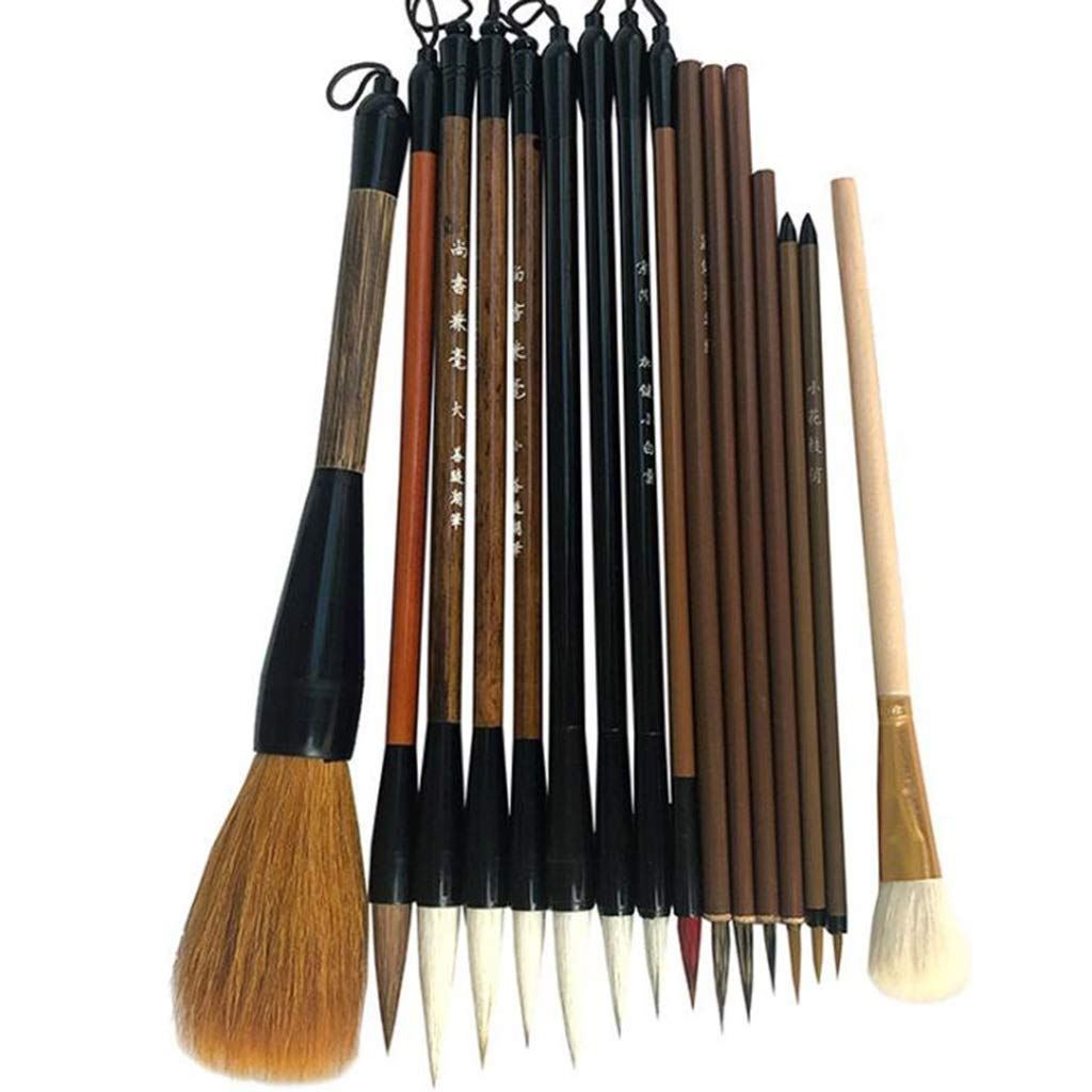 QTT Writing Brush, Chinese Painting Brush Set, Student Professional Tools, Meticulous Hook Line( 16 Pcs )