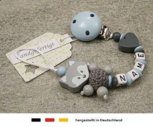 Baby SCHNULLERKETTE mit NAMEN | Schnullerhalter mit Wunschnamen - Jungen Motiv Fuchs und Herz in babyblau, grau kleinerStorch