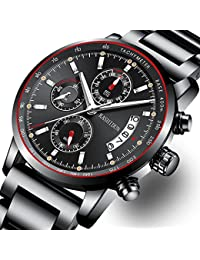 Mens Stainless Steel Watches Men Chronograph Waterproof...