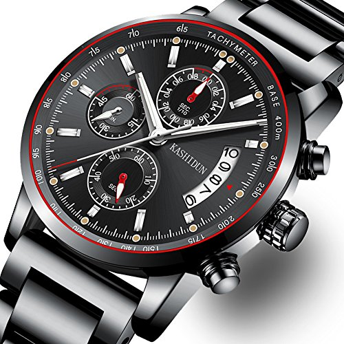 Mens Stainless Steel Watches Men Chronograph Waterproof Sport Date Quartz Wristwatch Classic Watch