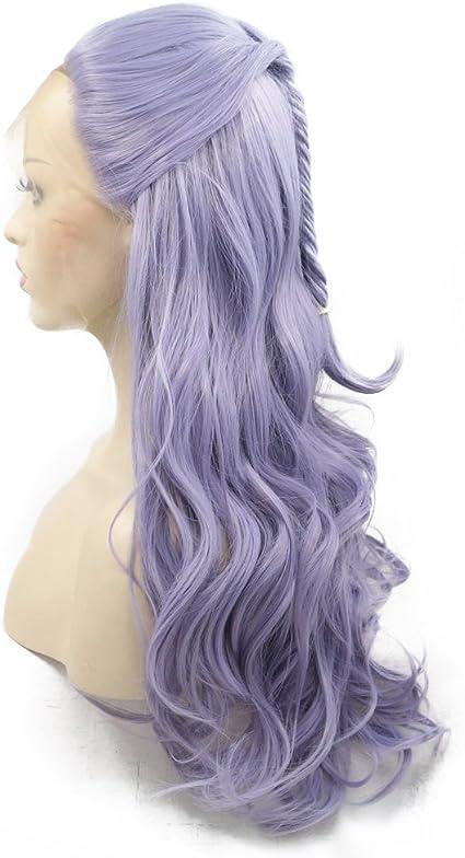 Peluca de pelo sintético de color lila con cola de pez trenzada natural resistente al calor y encaje frontal para mujeres y niñas, pelo sintético de repuesto natural, pelo largo, 60,96 cm: