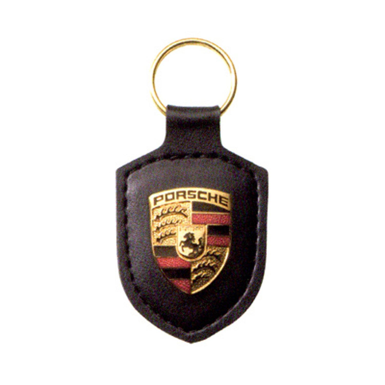 Porsche avec blason en cuir noir porte-clés