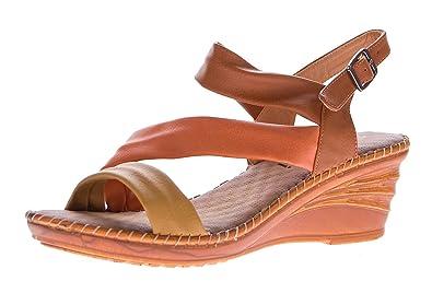 Scandi Damen Keil Sandaletten Schnalle Clogs Schuhe Fessel Riemchen Sandalen Wedges Gr 36-41