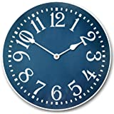 Colonial Blue Wall Clock, Available in 8 sizes, Most Sizes Ship 2-3 days, Whisper Quiet.