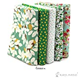 "RayLineDo 5X Different Pattern Green 100% Cotton Poplin Fabric Fat Quarter Bundle 46 x 56cm ( Appox 18"" x 22"") Patchwork Quilting Fabric"