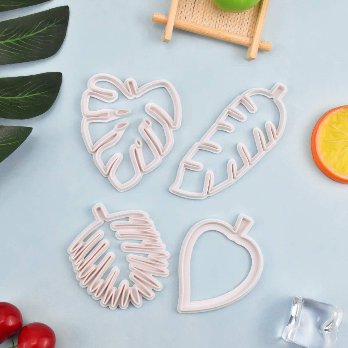 Jinlaili 4 St/ück Bl/ätter Ausstechformen Set Wei/ß Kunststoff Kuchen Dekorationsform f/ür DIY Keks Fondant Cupcake Tropische Blatt Keksformen von Verschiedenen Forme