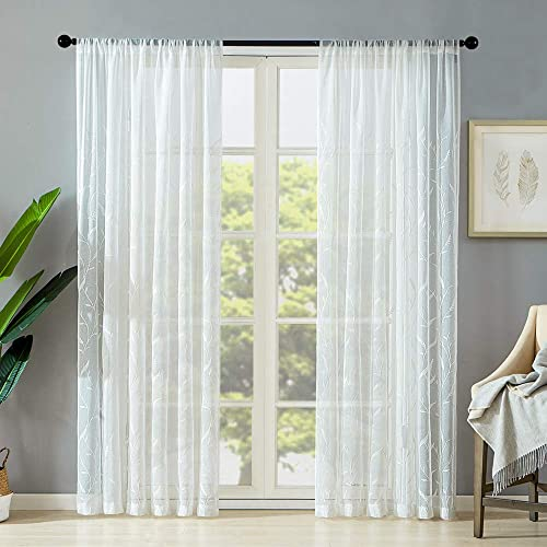 MRTREES White Sheer Curtains Leaves Embroidered Curtain Sheers 84 inches Long Voile Living Room Wheat Spike Embroidery Bedroom Rod Pocket Light Filtering Window Treatment Set 2 Panels