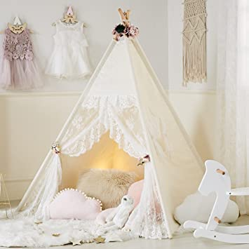 Little Dove Floral Classic Ivory Kids Teepee Kids Play Tent Childrens Play House Tipi Kids Room & Amazon.com: Little Dove Floral Classic Ivory Kids Teepee Kids Play ...