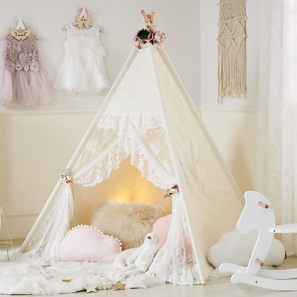 Little Dove Floral Classic Ivory Kids Teepee Kids Play Tent Childrens Play House Tipi Kids Room Decor by little dove (Image #8)