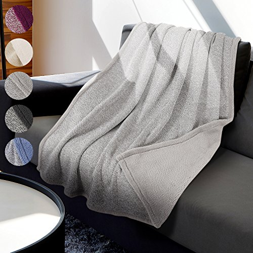 Deluxe Knit Sherpa Throw Blanket 50