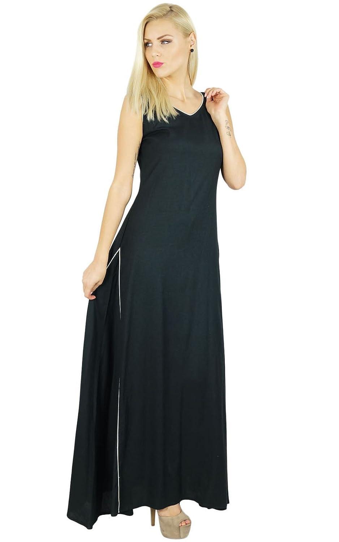 Bimba Women Long Dress Rayon Black Maxi Gown Bohemian Casual Clothing