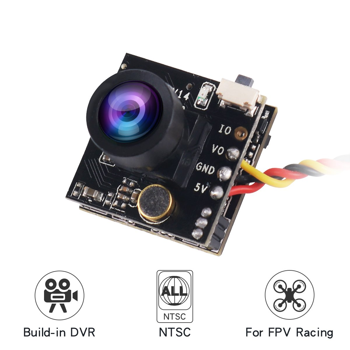 Crazepony FPV DVR Camera Turbowing CYCLOPS3 V3 720P Micro Video Recording HD Camera Mini Video Audio Recorder 175 Degree NTSC FPV Camera for FPV Racing Drone Multicopter Quadcopter
