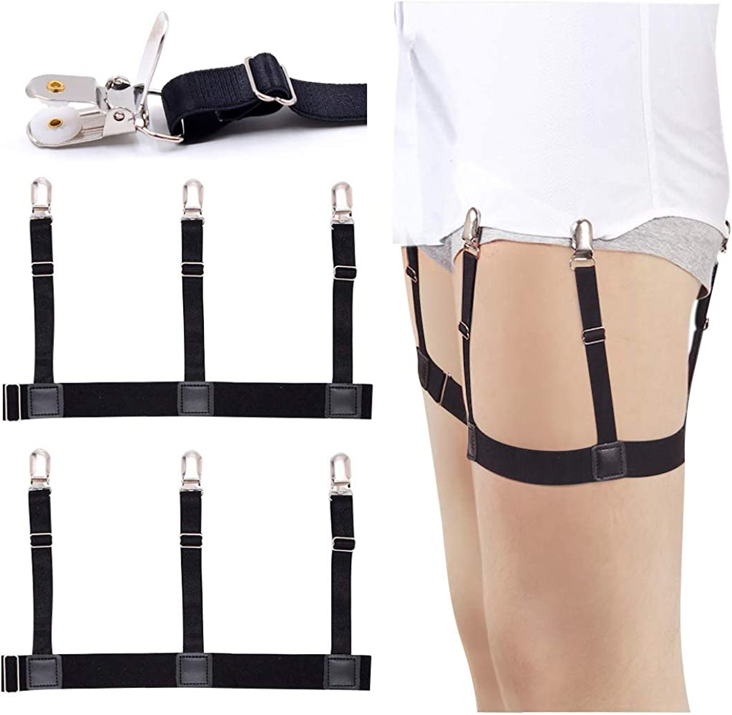 Shirt Suspender Stays Holders Elastic Garter with Non-slip Locking Clamps CA NEW